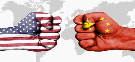 Conflict between USA and China - male fists